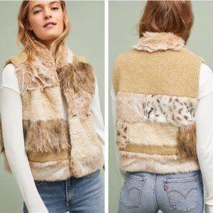 Anthropologie Mixed Faux Fur Vest